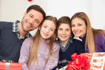 daugther: Happy family celebrating the christmas Stock Photo
