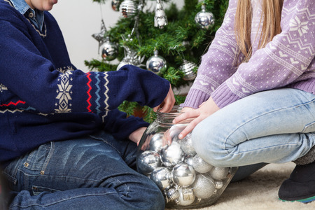 10 12 years: Brothers have fun in christmas Stock Photo