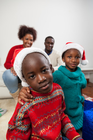 daugther: Celebrating christmas with family Stock Photo