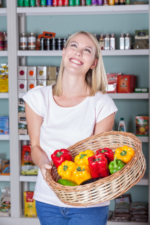 Natural Happy woman in the store photo