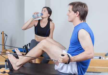 pilates man: man exercising Stock Photo