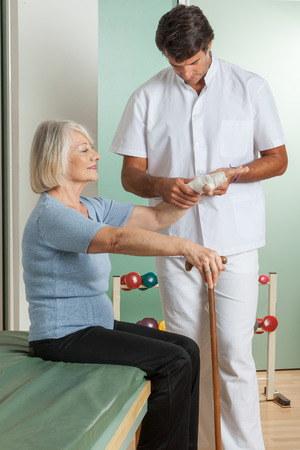 elastic band: Doctor wraps an elastic band
