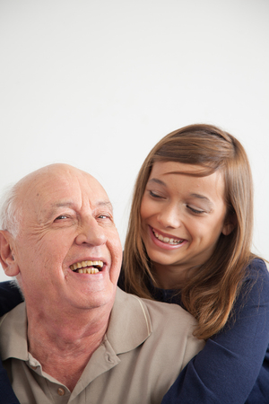 grandkid: Portrait of grandfather and granddaughter