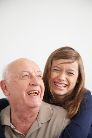 granddaughter: Portrait of grandfather and granddaughter