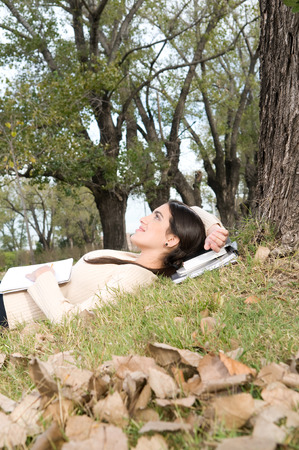20 to 25 years old: Woman taking a rest outdoors