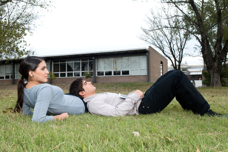 20 to 25 years old: Couple taking a rest outside Stock Photo