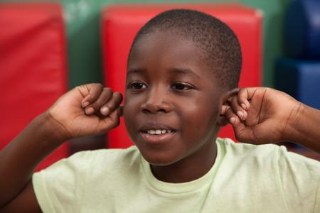 Black boy smiling at canera Banque d'images