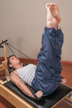 20 30 years: Man doing pilates Stock Photo