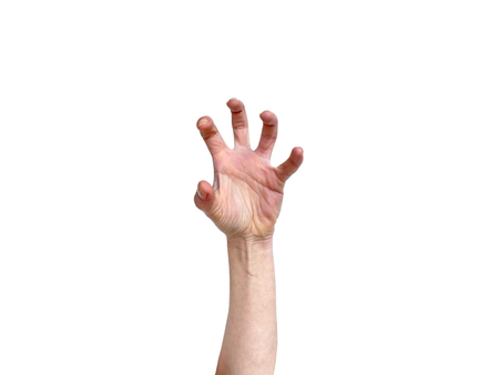 hand position: Hand in awkward frustrated overstretched position isolated on white