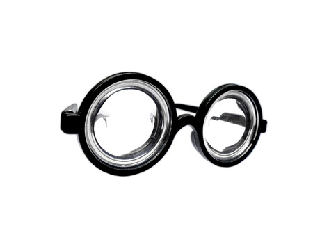 shortsightedness: Funny toy short-sighted glasses with heavy scratching isolated on white Stock Photo