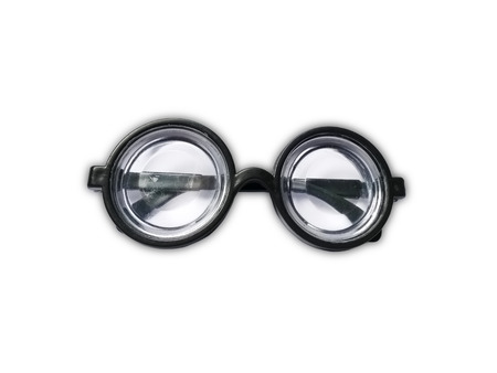funny glasses: Funny toy short-sighted glasses with heavy scratching isolated on white Stock Photo