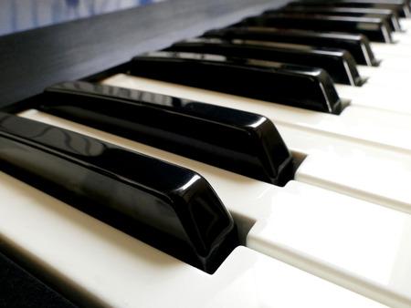 piano closeup: Closeup of Electronic Piano synthesizer Keyboard Stock Photo