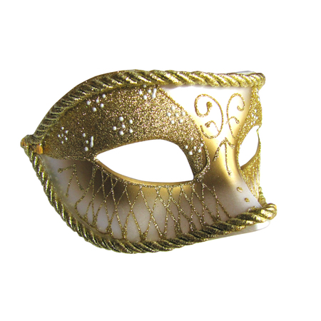 comedy disguise: Golden mask isolated on white
