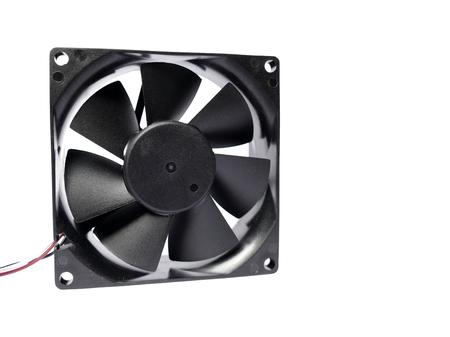 it is isolated: Computer fan with some minor dust on it isolated on white