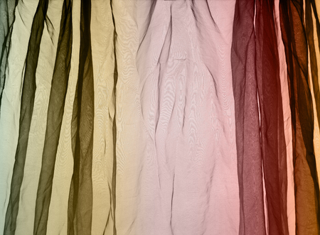 voile: Voile curtain background brown, green, red Stock Photo