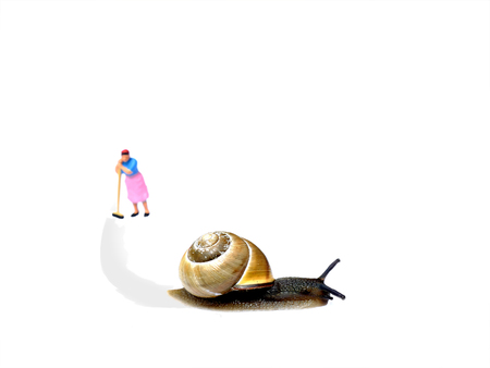 slimy: Snail making a slimy trail and blurred miniature cleaning lady leaning on broomstick after cleaning. Isolated on white. Business concept