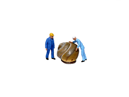 workmen: Miniature workmen inspecting snail shell isolated on white. Business concept Stock Photo