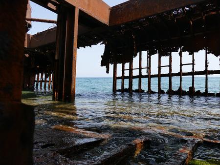 peloponnise: Inside of the Dimitrios shipwreck at Selinitsa beach near Gytheio, Peloponnese, Greece Stock Photo