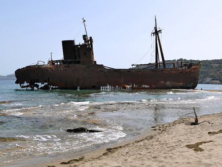 peloponnise: Dimitrios shipwreck at Selinitsa beach near Gytheio, Peloponnese, Greece