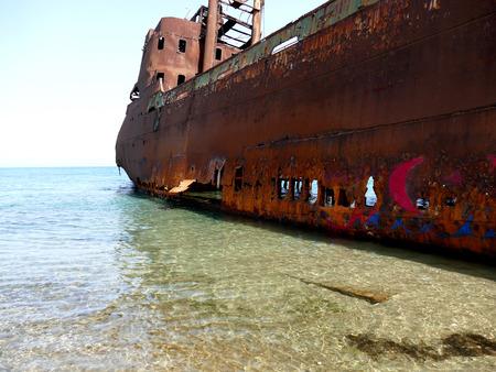 peloponnise: Dimitrios shipwreck at Selinitsa beach near Gytheio, Peloponnese, Greece