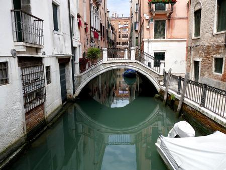 venezia: Canal in Venice, Venezia, Italy, Europe with bridge