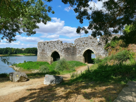 the loire: Arched toll bridge le Cul du  at the Loire on a sunny day