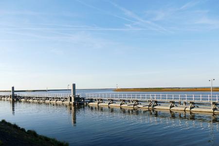 lift gate: Sluice on Oostkade van Den Oever, Wieringen Afsluitdijk The Netherlands