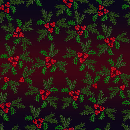 illustrated: Christmas holly seamless illustrated pattern in green, red on dark gradiented background Stock Photo