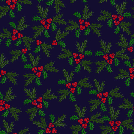 illustrated: Christmas holly seamless illustrated pattern in green, red on dark blue background