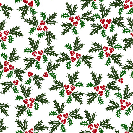 Christmas holly seamless illustrated pattern in green, red on white background