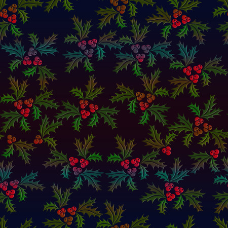 Christmas holly seamless illustrated pattern in shaded colours on black background Imagens
