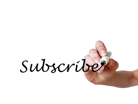 unsubscribe: Hand writing Subscribe with black marker on transparent whiteboard Stock Photo