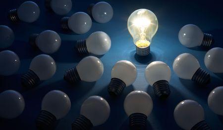 ideas brillantes: l�der con ideas brillantes  Foto de archivo
