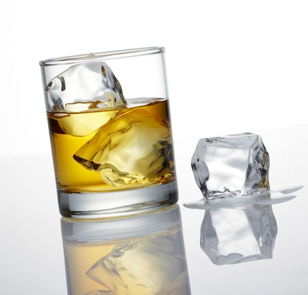 icecube: whisky and ice cube, a studio shot