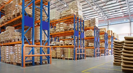 shipment: warehouse with multilayer racks in a factory