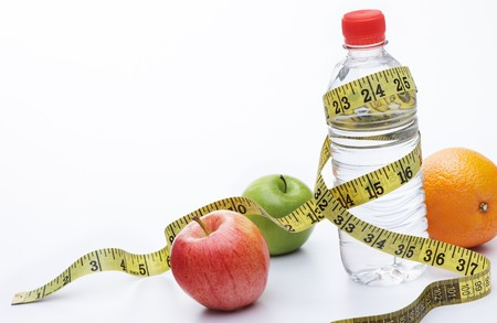 requires: healthy eating requires lots of fruits and water Stock Photo
