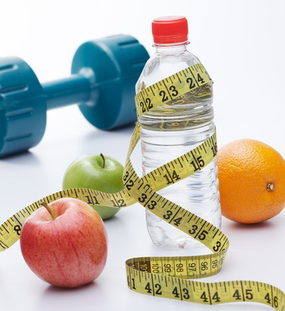 healthy living requires water, fruits and exercise Stock Photo - 4093559