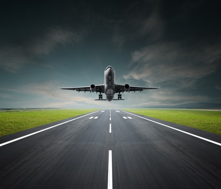 aeroplane departing or landing at the airport Stock fotó