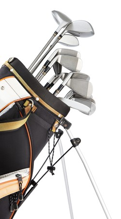 golf equipment: golf equipment in bag isolated on white