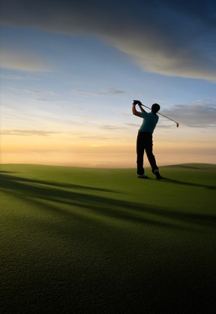 off course: golfer at golf course, illustration like