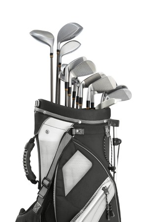 golf equipment in bag isolated on white