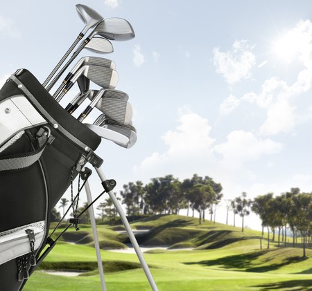 close up of golf equipment, course as background Stock Photo - 4403285
