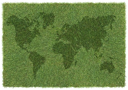 shape of world map on grass, background Stock Photo - 4403294