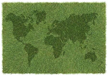 shape of world map on grass, background Stock Photo - 4403294