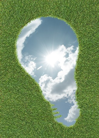 shape of lightbulb with sky in it on grass Stock Photo - 4437698