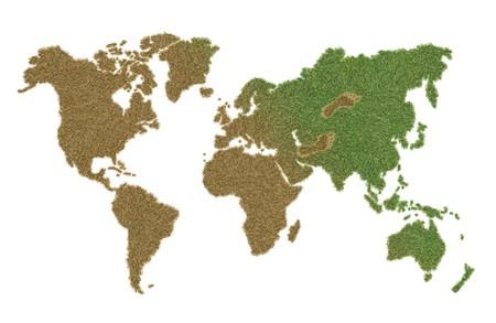 damaging: grass world map damaging by human activities Stock Photo