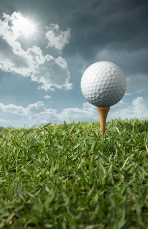 golf ball on tee with sunny day Stock Photo - 4437706