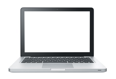 laptop isolated: port�til aislados en blanco, con monitor en blanco Foto de archivo