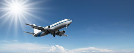 jet plane: aeroplane flying on a clear blue sky