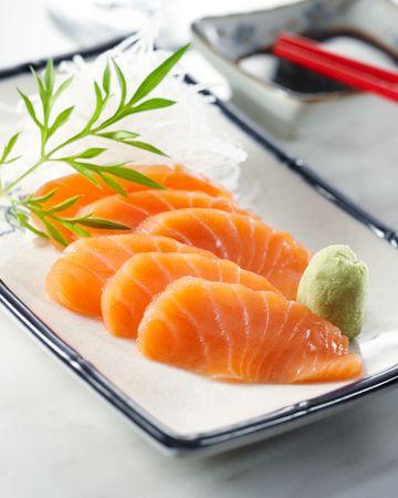 sake: delicioso sashimi bien, profundidad de campo